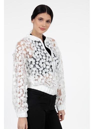 Vitrin Çiçek Desenli Transparan Bomber Ceket Beyaz
